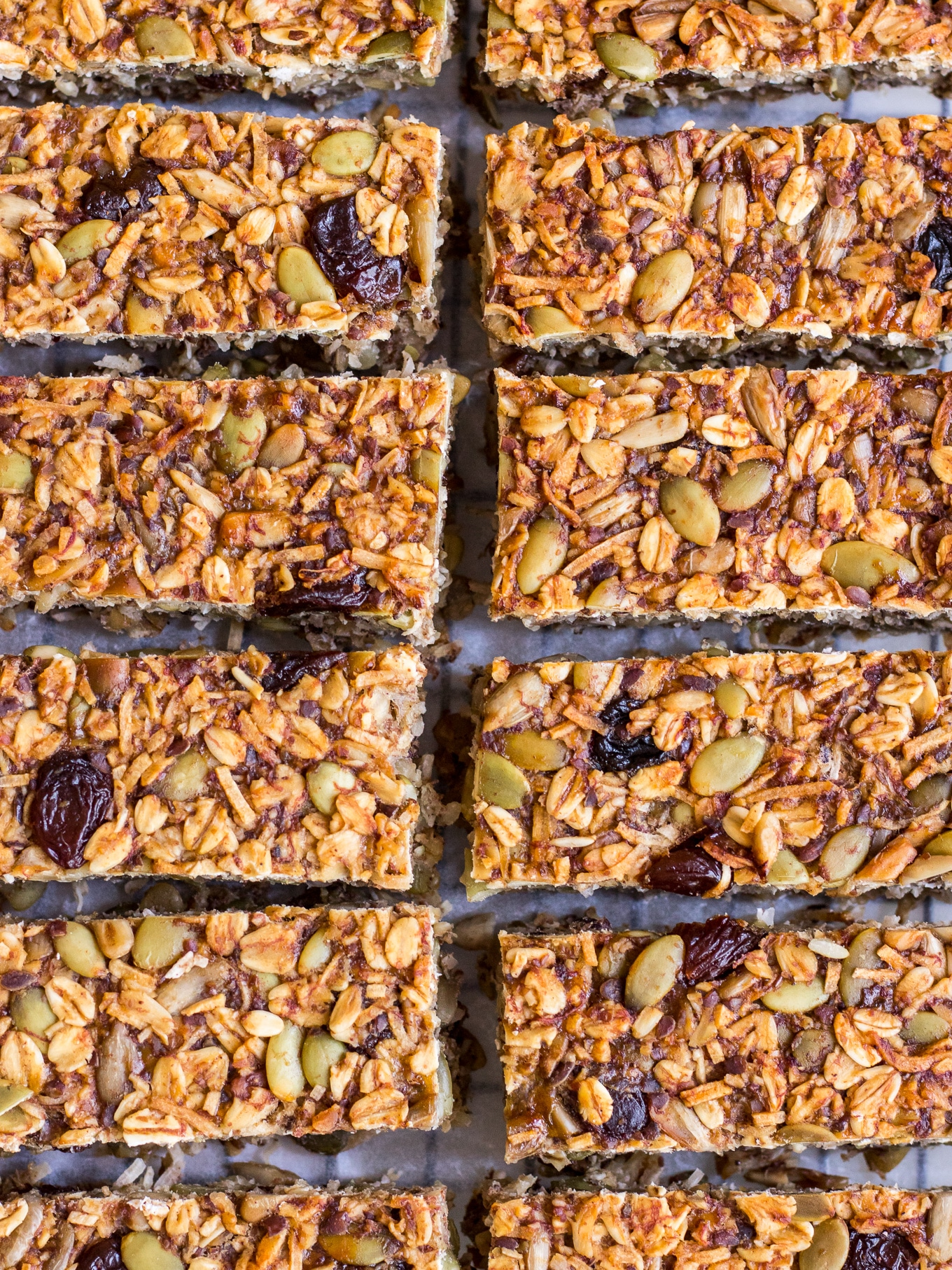 Close up shot of granola bars by Nourish Every Day