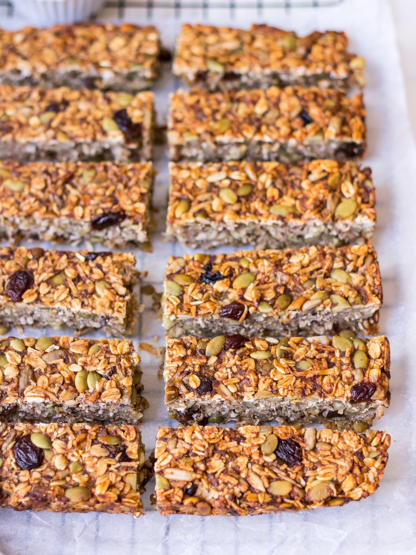 Side angle shot of banana bread granola bars recipe