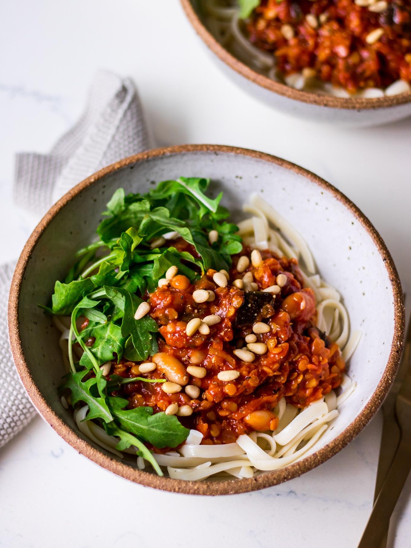 Red lentil eggplant bolognese sauce close up (Nourish Every Day)
