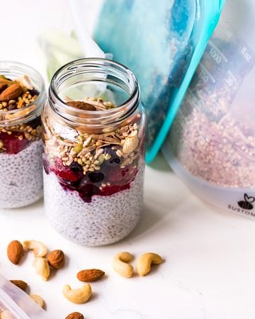 Breakfast chia pudding jars with Nourished Life reusable plastic products