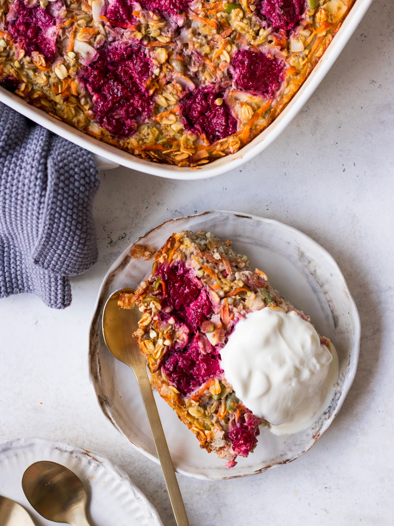 Carrot and Raspberry Baked Oats