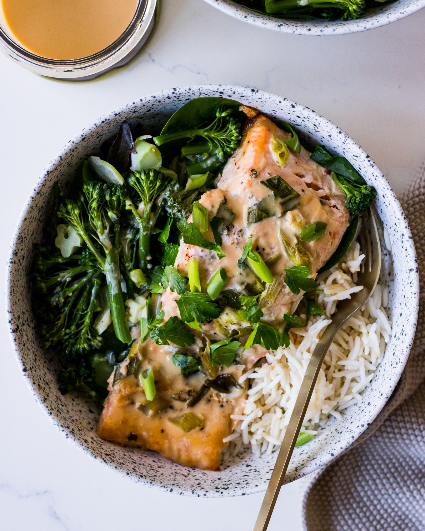 Miso baked salmon fillet with white rice and greens and spring onion