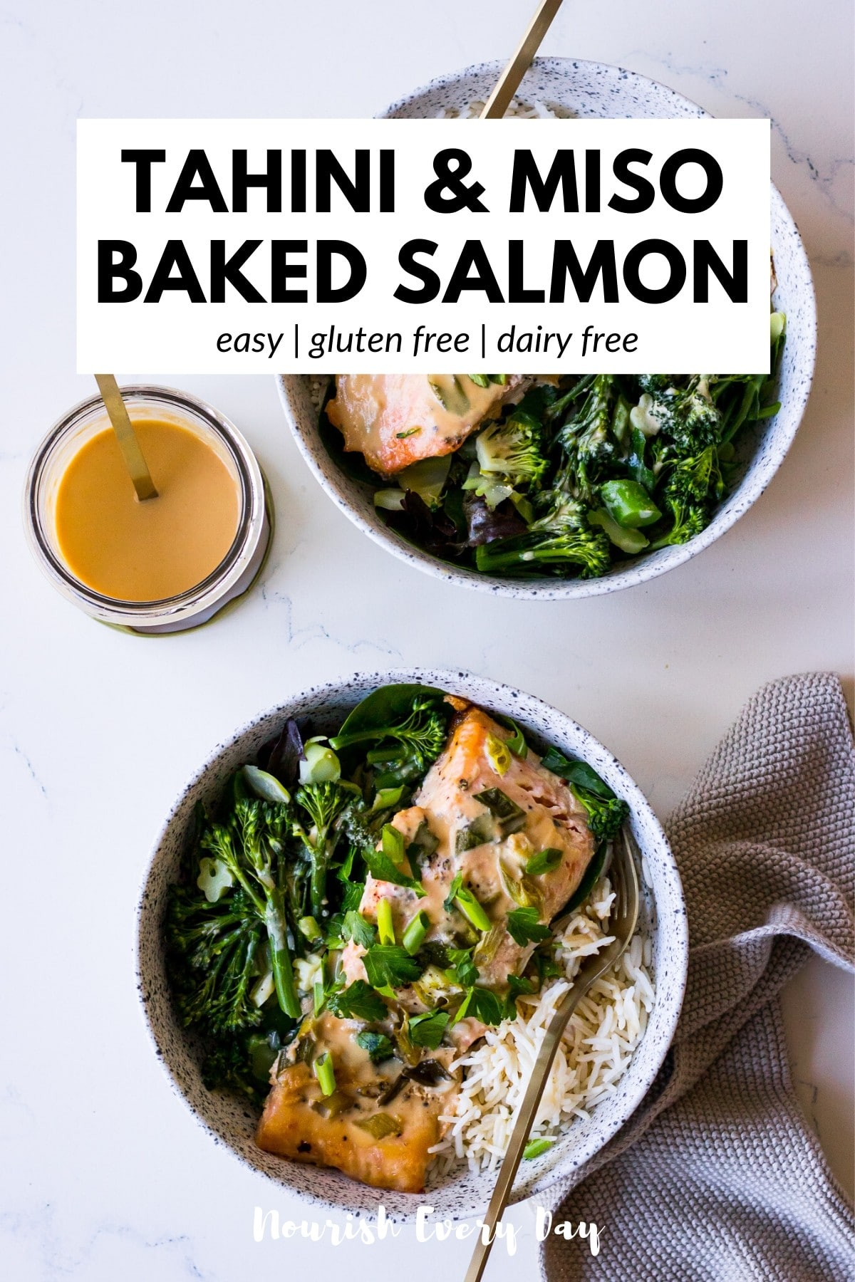 Tahini Miso Baked Salmon Recipe by Nourish Every Day Blog