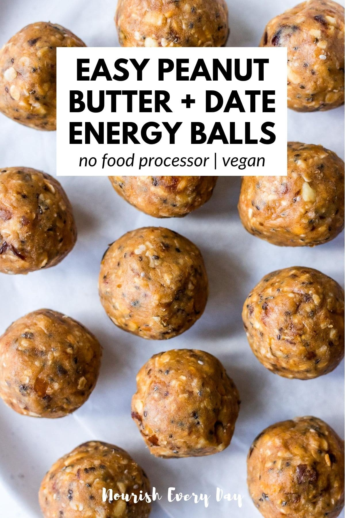 Recipe pin for Easy Peanut Butter Date Energy Balls