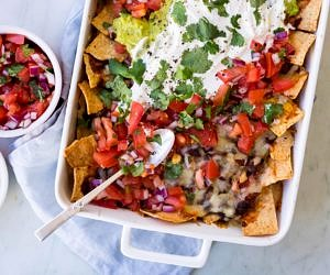 Loaded Vegetarian Mushroom Nachos
