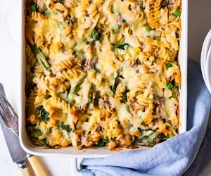 Healthier creamy tuna pasta bake recipe by Nourish Every Day